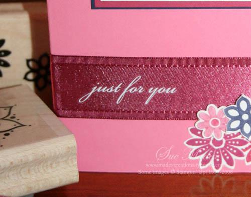 Sneak peek rub on ribbon card