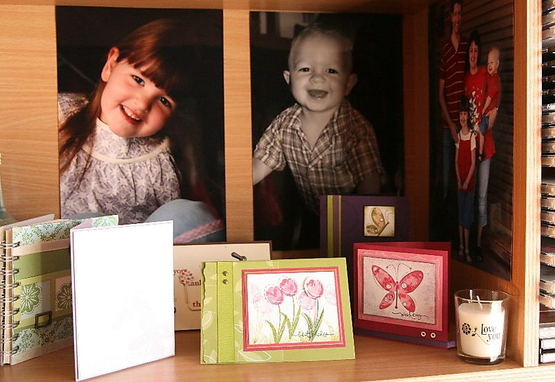 Cards and pics on desk
