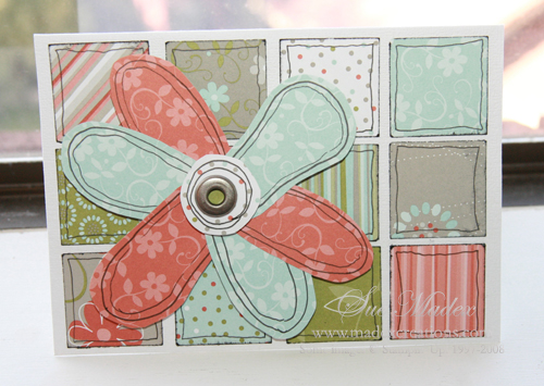 Squares with flower card