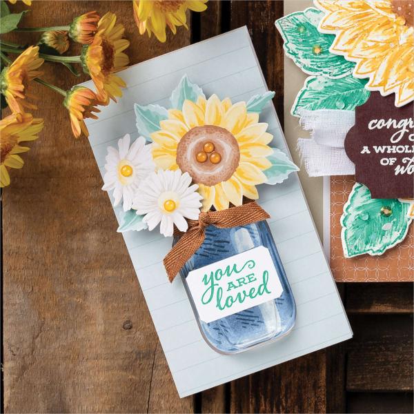 Celebrate sunflowers jar card